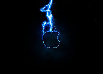 Apple Inc., lightning, logos - desktop wallpaper