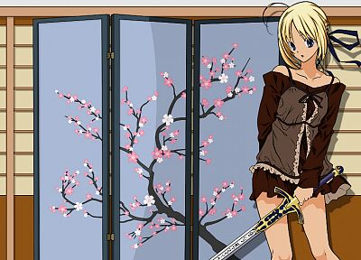 blondes, cherry blossoms, Fate/Stay Night, anime, Saber, anime girls, swords, Fate series - related desktop wallpaper