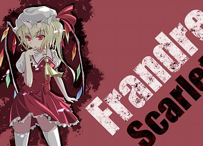 blondes, Touhou, wings, red eyes, short hair, Flandre Scarlet, anime girls - desktop wallpaper