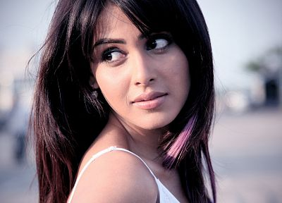 brunettes, women, faces, Indian, Genelia D'Souza - random desktop wallpaper