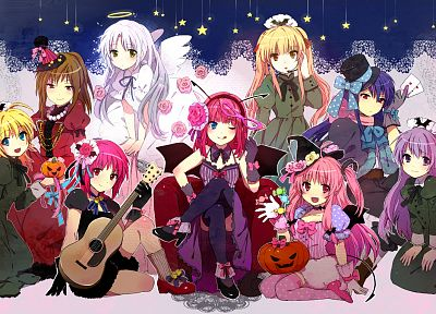 brunettes, blondes, angels, wings, blue eyes, Halloween, Angel Beats!, long hair, brown eyes, blue hair, green eyes, purple hair, pink hair, red eyes, short hair, thigh highs, yellow eyes, guitars, twintails, Tachibana Kanade, head dress, chairs, sitting, - random desktop wallpaper