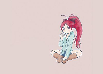 food, redheads, Mahou Shoujo Madoka Magica, Sakura Kyouko, anime, simple background, anime girls - desktop wallpaper