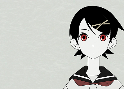 Sayonara Zetsubou Sensei, school uniforms, schoolgirls, red eyes, Fuura Kafuka, simple background, faces, pale skin, sailor uniforms, blue background, hair ornaments, bangs, black hair, hair pins - random desktop wallpaper
