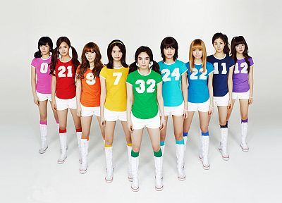 boots, women, uniforms, team, Girls Generation SNSD, celebrity, numbers, rainbows, Asians, Seohyun, Korean, singers, Jessica Jung, Kim Taeyeon, Kwon Yuri, Im YoonA, Kim Hyoyeon, Choi Sooyoung, K-Pop, Tiffany Hwang, knee socks - desktop wallpaper