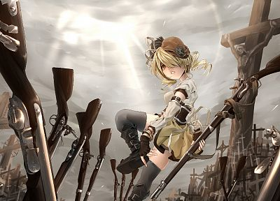 blondes, guns, Mahou Shoujo Madoka Magica, Tomoe Mami, anime, anime girls - related desktop wallpaper