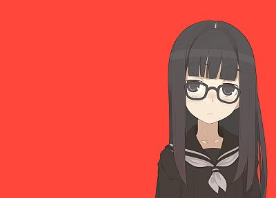 red, school uniforms, glasses, meganekko, anime, simple background, anime girls - related desktop wallpaper