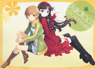 Persona series, thigh highs, Persona 4, H2SO4 (Illustrator), scans, Satonaka Chie, Amagi Yukiko - related desktop wallpaper