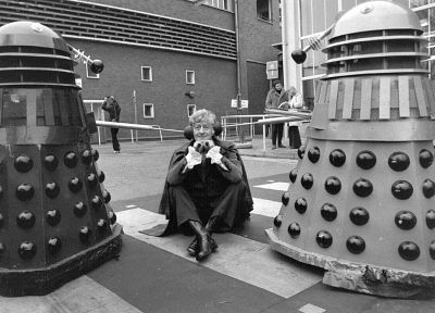 Dalek, grayscale, Doctor Who, Jon Pertwee, Third Doctor - related desktop wallpaper