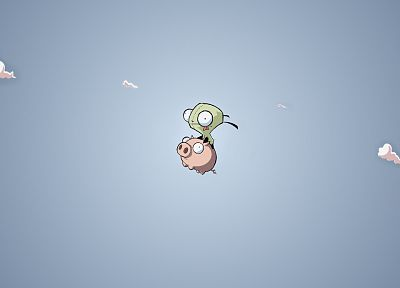 clouds, Invader Zim, pigs, Gir - random desktop wallpaper