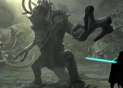 Star Wars, Jedi, rancor, Force Unleashed - random desktop wallpaper