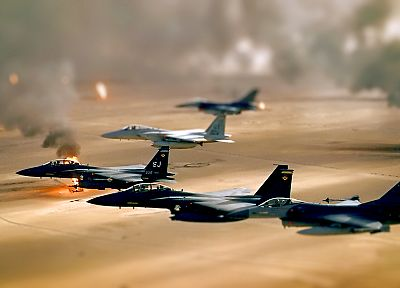oil, deserts, smoke, fields, Iraq, tilt-shift, fighter jets - desktop wallpaper