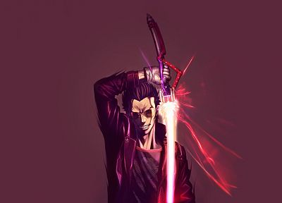 men, glasses, No More Heroes, artwork, travis touchdown, swords - desktop wallpaper