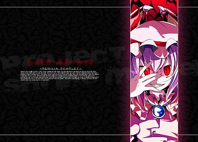 video games, Touhou, wings, black, dark, dress, text, vampires, purple hair, red eyes, short hair, teeth, grin, gems, hats, pink dress, Remilia Scarlet, glowing eyes, bats, slit pupils - related desktop wallpaper
