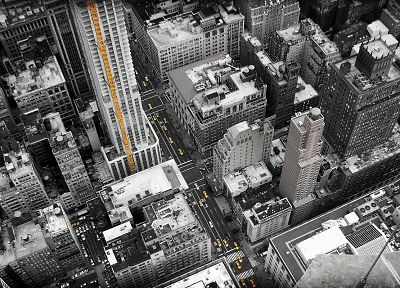 cityscapes, New York City, selective coloring - random desktop wallpaper