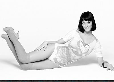 women, Katy Perry, grayscale, singers, monochrome - related desktop wallpaper