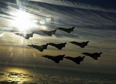 aircraft, military, Eurofighter Typhoon, vehicles, jet aircraft, formation - related desktop wallpaper