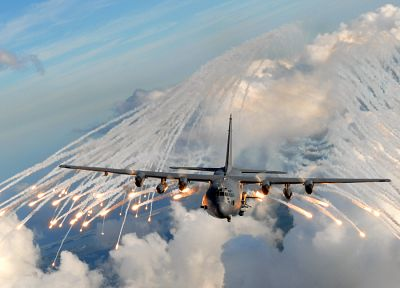 aircraft, military, airplanes, AC-130 Spooky/Spectre, flares - random desktop wallpaper