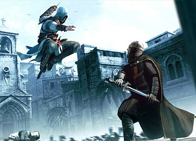 video games, Assassins Creed, Altair Ibn La Ahad, jumping, armor, swords - random desktop wallpaper
