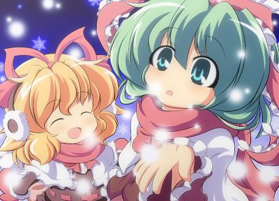 blondes, snow, Touhou, ribbons, short hair, green hair, Alice Margatroid, Kagiyama Hina, anime girls - random desktop wallpaper