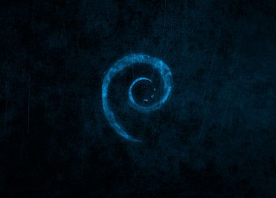 water, blue, dark, Linux, Debian, brands, logos - random desktop wallpaper