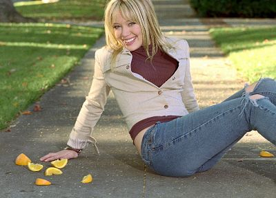 jeans, Hilary Duff, celebrity, sidewalks - random desktop wallpaper