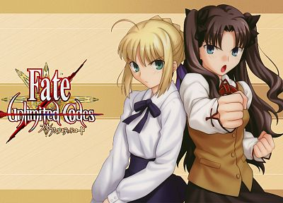 Fate/Stay Night, Tohsaka Rin, Type-Moon, Saber, Fate series - related desktop wallpaper