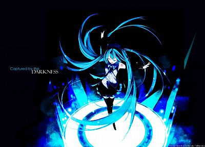 dark, Vocaloid, Hatsune Miku, long hair, blue hair, thigh highs, detached sleeves - desktop wallpaper