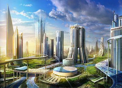 cityscapes, futuristic, architecture, Philip Straub - random desktop wallpaper