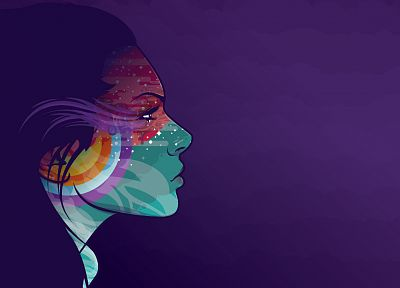women, multicolor, rainbows, profile, faces, JThree Concepts, purple background, Jared Nickerson - desktop wallpaper