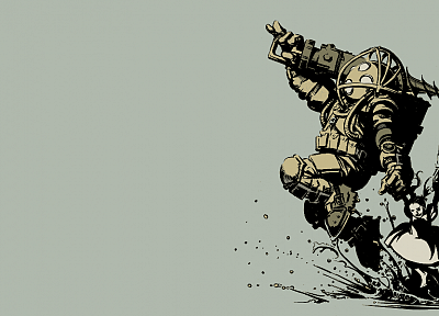 video games, Big Daddy, Little Sister, BioShock, simple background - related desktop wallpaper