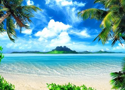 ocean, landscapes, nature, paradise, islands, palm trees, sea, beaches - related desktop wallpaper