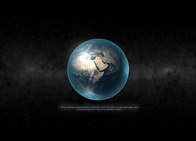 outer space, planets, quotes, Earth, logic - desktop wallpaper