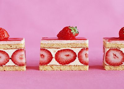 food, strawberries, dessert, cakes - desktop wallpaper