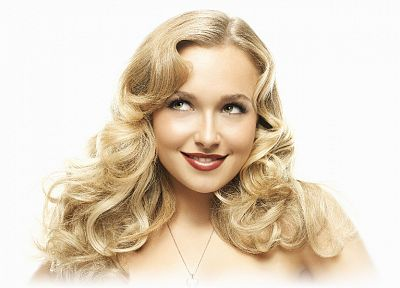 blondes, women, actress, Hayden Panettiere, lips, celebrity, smiling, curly hair, simple background, faces, white background - desktop wallpaper