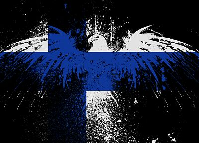 eagles, flags, Finland - desktop wallpaper