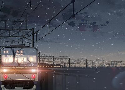 trains, Makoto Shinkai, power lines, 5 Centimeters Per Second - desktop wallpaper