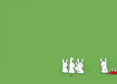 bunnies, minimalistic, drawings, simple background, simple, green background - desktop wallpaper