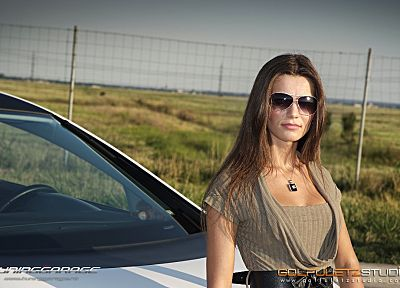 women, cars, Seat Leon, girls with cars - related desktop wallpaper