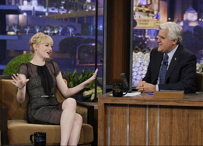 women, Emma Stone, Jay Leno - random desktop wallpaper