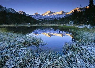 mountains, valleys, little, California, frosty, morning, lakes, Sierra - desktop wallpaper