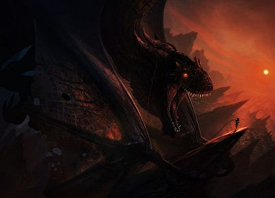 women, dragons, fantasy art, artwork - related desktop wallpaper