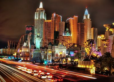 cityscapes, night, Las Vegas, buildings, New York City, traffic lights, grand, palm trees, lions - desktop wallpaper
