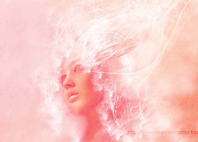 pink, faces, photo manipulation - random desktop wallpaper