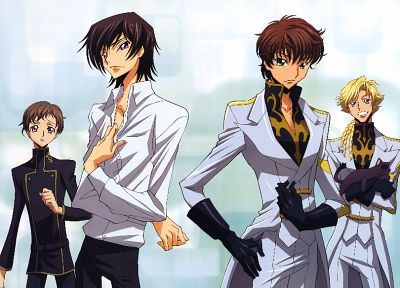 Code Geass, Kururugi Suzaku, Lamperouge Lelouch, Lamperouge Rolo, Gino Weinberg - random desktop wallpaper