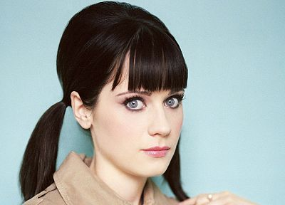brunettes, women, Zooey Deschanel, pigtails - random desktop wallpaper