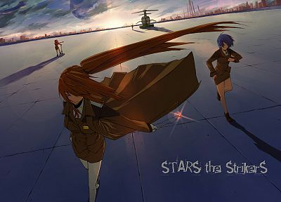 Mahou Shoujo Lyrical Nanoha, uniforms, helicopters, stars, Subaru, purple hair, vehicles, anime girls - desktop wallpaper
