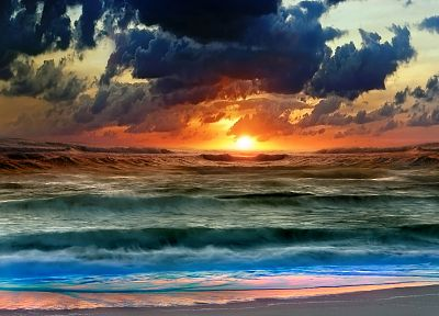 sunset, ocean, clouds, nature, beaches - random desktop wallpaper