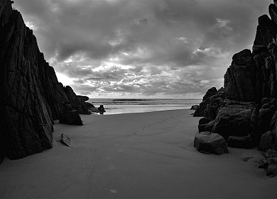 clouds, rocks, grayscale, monochrome, beaches - related desktop wallpaper