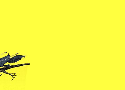 minimalistic, yellow, birds, Matrix, branches, yellow background - desktop wallpaper