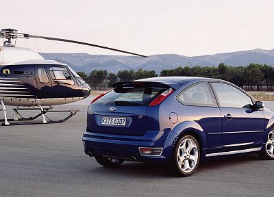 blue, helicopters, cars, Ford, back view, vehicles, Ford Focus, Ford Focus ST - related desktop wallpaper